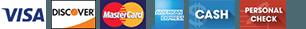 Visa | Discover | MasterCard | Amex | Cash | Personal check
