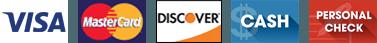 Visa | Mastercard | Discover | Cash | Personal Check