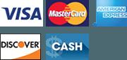 Visa, MasterCard, American express, Discover, Cash