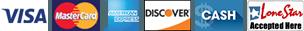 Visa, MasterCard, AmEx, Discover, Cash, LoneStar