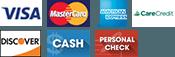 Visa, MasterCard, American Express, Care Credit, Discover, Cash, Personal Check