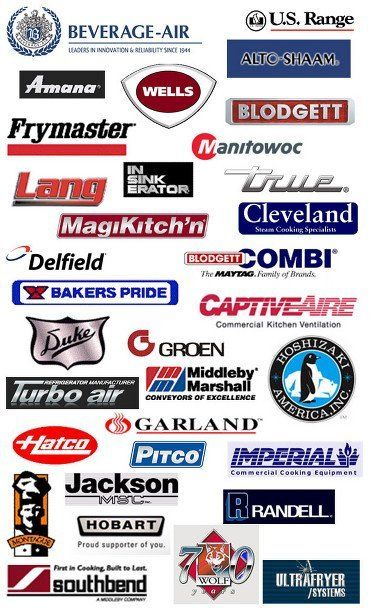 Beverage-Air | U.S. Range | Amana | Wells | Alto-Shaam | Frymaster | Blodgett | Manitiwic | Lang | Insinkerator | True | Magikitch'n | Cleveland Delfield | Combi | Bakers Pride | Captiveaire  | Duke | Groen | Turbo Air | MIddleby Marshall | Hoshozaki Ameican Inc | Hatco | Garland | Pitco | Imperial | Montague | Jackson msc | Hobart | Randell | Southbend | 70 Wolf | Ultrafryer Systems