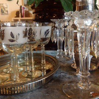 Vintage wine glasses, serving tray and crystal