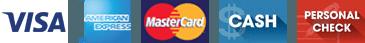 Visa, American Express, Mastercard, Cash, Check