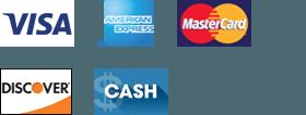Visa, American Express, MasterCard, Discover, and Cash