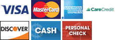 Visa | MasterCard | American Express | Care Credit | Discover | Cash | Personal Check