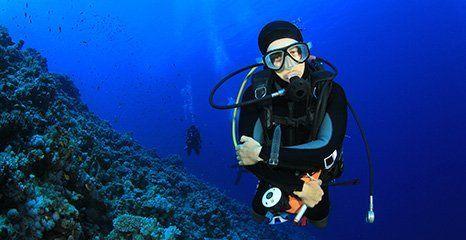scuba diver under the water