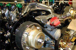 Closeup of racing engine