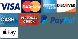 Visa, MasterCard, American Express, Discover, Cash, Personal Check, PayPal, Apple Pay