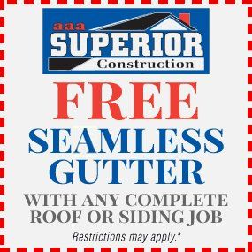 Free Seamless Gutter with Any Complete Roof Or Siding Job