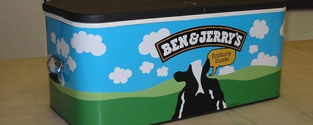 Ben & Jerry's container wrap made by Sign It!