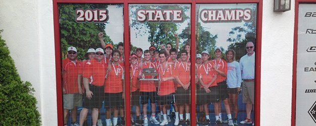 2015 State Champs window banner made by Sign It!