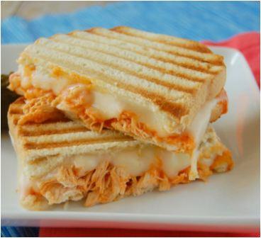 Buffalo chicken panini sandwich on plate