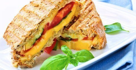 Panini sandwich with cheese and tomatoes