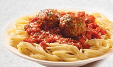 Plate of spaghetti and meatballs