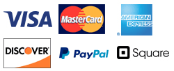 Visa, MasterCard, Amex, Discover, PayPal, Square
