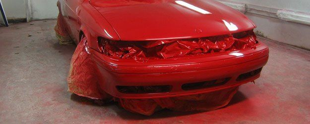 car painted red