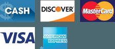 Cash, Discover, Master Card, Visa, Amex logos