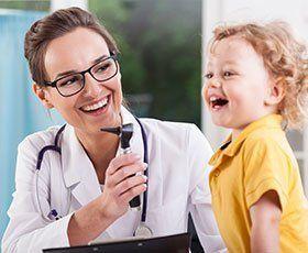 Pediatrician and child