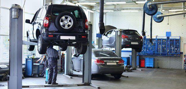 cars on a auto repair shop