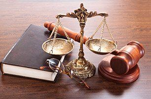 gavel, justice scale, law book