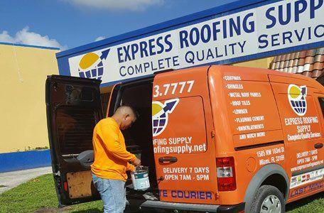 Express Roofing Supply Van