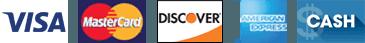 Visa | Mastercard | Discover | AmEx | Cash | Personal Check