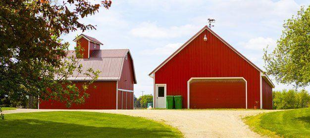 red barns on a farm