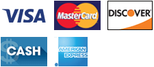 Visa, MasterCard, Discover, Cash and AMEX
