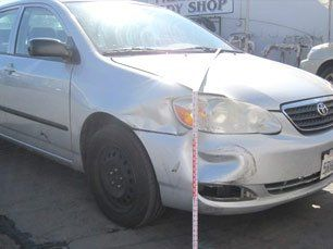 front passenger side dent in a silver toyota