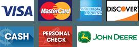 Visa | MasterCard | AmericanExpress | Discover | Cash | PersonalCheck | John Deere