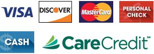 Visa, Discover, Mastercard, Personal Check, Cash, and Care Credit