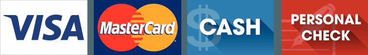 Visa, Mastercard, Cash, Personal Check logos