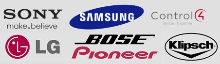 Sony, Samsung, Control 4, LG, Bose Pioneer, Klipsch