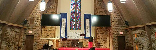 church with two television