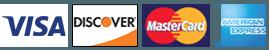 Visa, Discover, Mastercard, American Express
