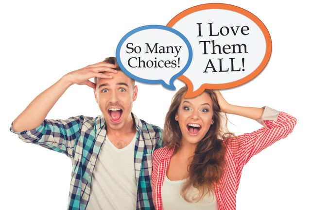 Happy Man And Woman Customers - So Many Choices...They love them all!