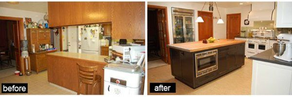 Before and After of the kitchen