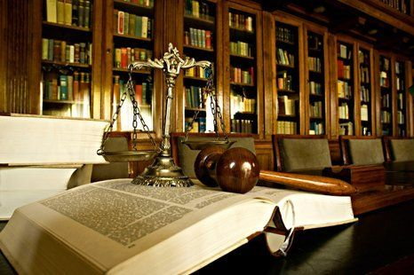 gavel, books and scale