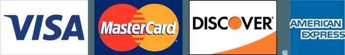 Visa, Mastercard, Discover, AMEX