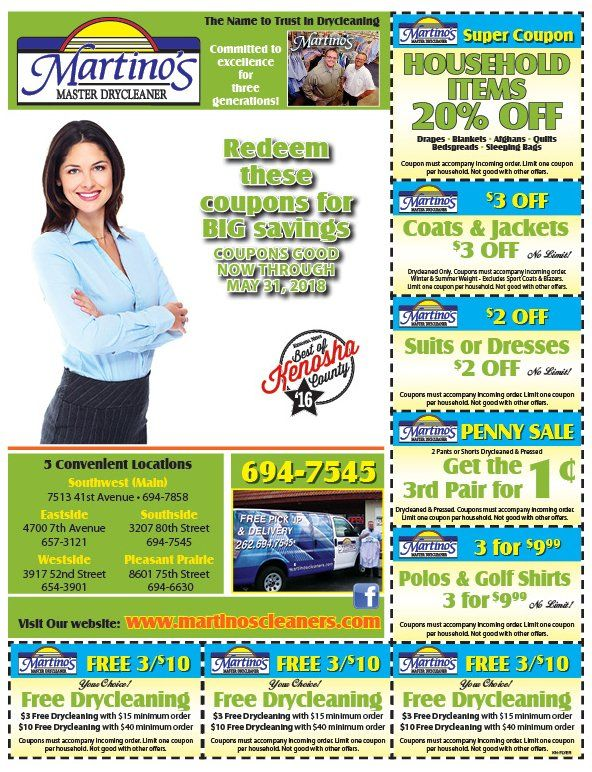 image regarding Printable Dry Cleaning Coupons called Martinos Learn Dry Cleaners Discount codes Kenosha, WI