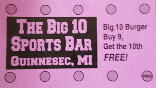 Big 10 Burger punch card