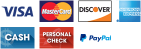 Visa, MasterCard, Discover, AMEX, Cash, Personal Check, and PayPal