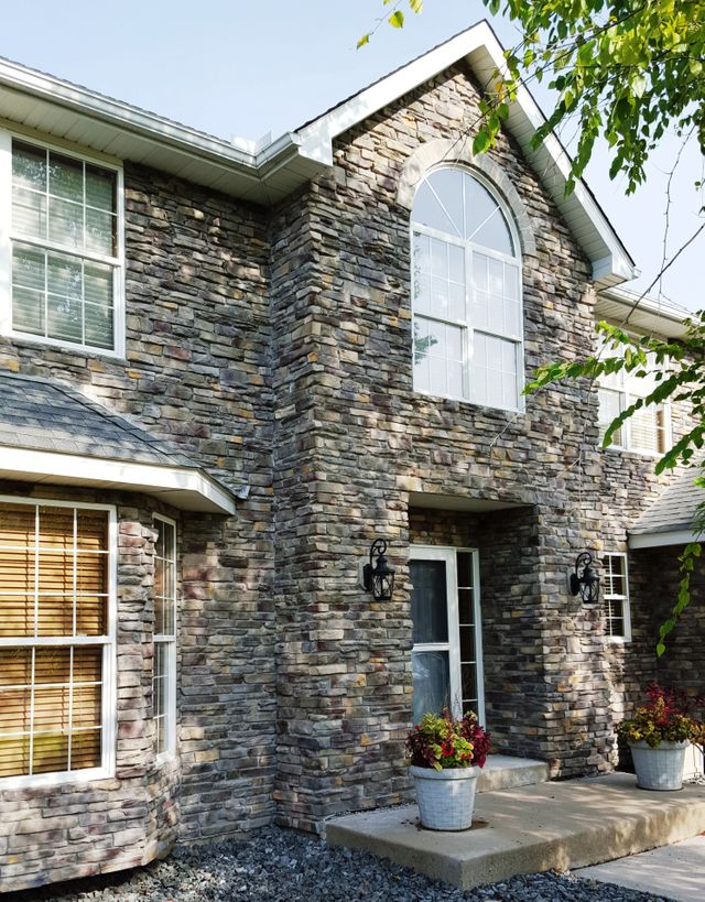residential ledgestone doorway