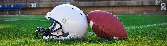 Football and helmet