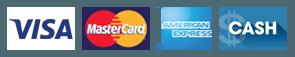 Visa, MasterCard, American Express, Cash