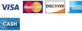 Visa, Mastercard, Discover, American Express and Cash