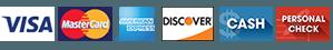 Visa, Mastercard, American Express, Discover, Cash, Check