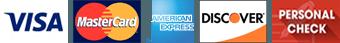 Visa, MasterCard, American Express, Discover, Personal Check