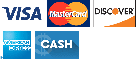 Visa, Master Card, Discover, AmEx, and Cash